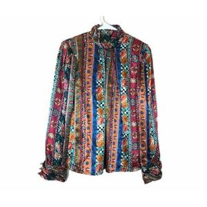Vintage Nicola 6 Blouse High Neck Floral Panels